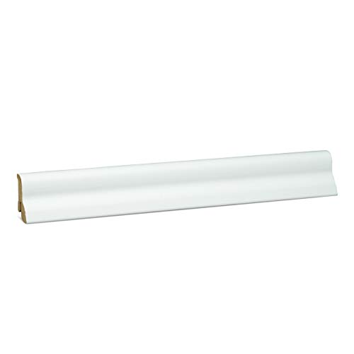KGM Laminatleiste Marburger | weisse Sockelleisten 40mm ✓Clip Leiste für unsichtbare Befestigung ✓geschwungene Leiste | mdf Fußleiste weiß 20x40mm mit Qualitätsfolie | Länge 2.5m