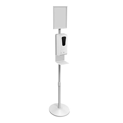 Lutingstore Hand San-itizer Dispenser Floor Stand Station With Poster Display Frame,1000ML Auto-Sensing Spr-ay Soap Dispenser and Adjustable Height Stand for Shops, Hospitals, Schools,Restaurant,White