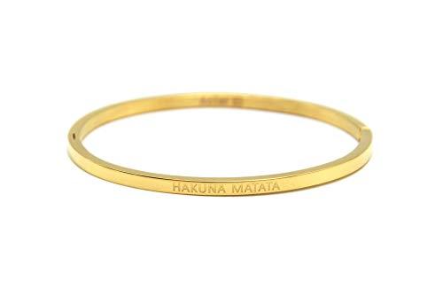 Oh My Shop BC2837F Armreif aus vergoldetem Stahl mit Botschaft Hakuna Matata