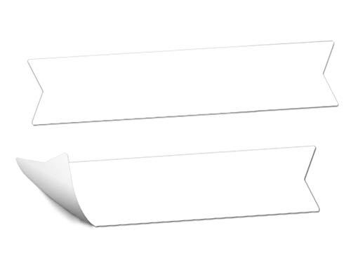 72 Wimpel Aufkleber: Weiße Blanko Etiketten zum selbst beschriften, Namensschilder, MATTE Papieraufkleber für Gastgeschenke, Etiketten für Tischdeko, Weinflaschen auf der Hochzeit, etc.