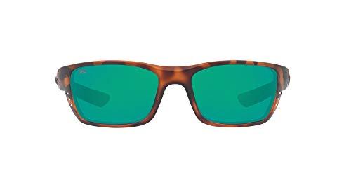 Costa Del Mar Men s Whitetip Polarized Rectangular Sunglasses, Matte Retro Tortoise Green Mirrored Polarized-580G, 58 mm
