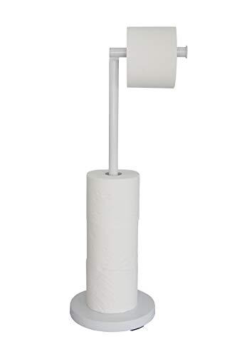 KOOK TIME portarrollos para Papel higiénico de pie - Metal Lacado Blanco - Dia. 18 cm v Al. 56 cm - Soporte Papel higiénico para Cuartos de baño. Accesorio de baño Blanco.