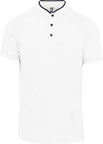 Kariban Polo col Mao Manches Courtes Homme - White/Navy, S, Homme