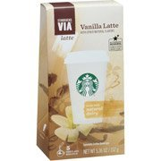 Starbucks VIA Latte Vanilla Latte Specialty Coffee Beverage, 5 Count, 5.36 Oz(case of 4)