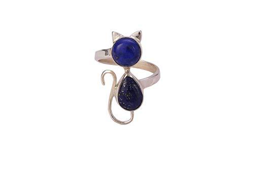 Anillo de gato Lapis Lazuli, Anillo de plata Lapis Lazuli, Plata de ley 925, Anillo de piedras preciosas, Anillo de plata, Anillo de plata Lapis, Tamaño del anillo azul 4 a 29 ES