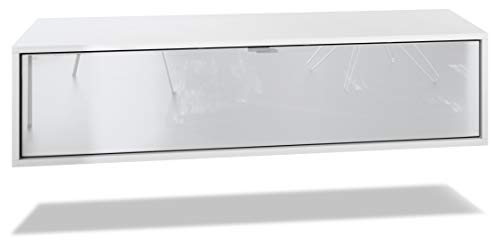 Vladon TV Board Lana 120 Hängeschrank Lowboard 120 x 29 x 37 cm, Korpus in Weiß Matt, Fronten in Weiß Hochglanz | Große Farbauswahl