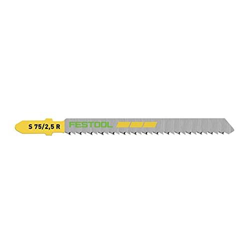 Festool S 75/2,5 R/25 WOOD Fine Cut - Hoja de sierra de calar (25 unidades) (5 x 204259) dentado invertido, cónico pulido para corte limpio, acero HCS