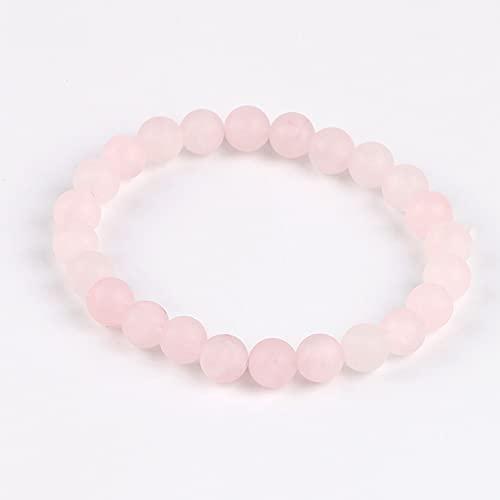 Pulsera De Piedra Mujer,7 Chakra Natural Pink Quartz Crystal Cuentas Mate Ansiedad Pulsera Lucky Bangle con Cuerda Elástica Amante Encanto Regalo para Hombres Mujeres