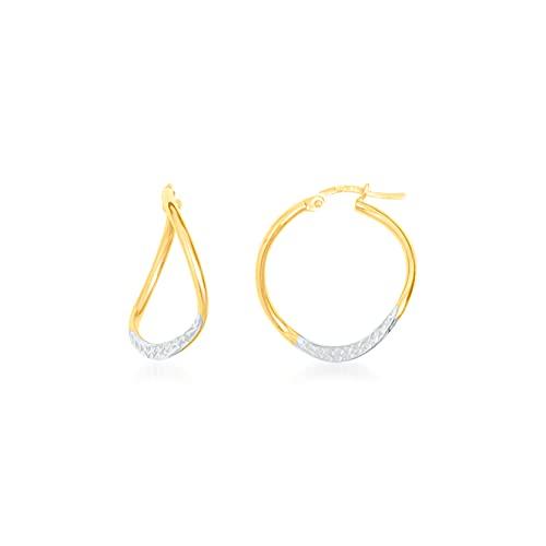Pendientes de aro redondos de alambre plano diamantado 21 mm/2 mm bicolor 9 KT (375) 0,96 G
