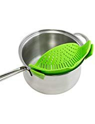 Silicone Clip Strainer, Compact and Flexible, Fits all Pots and Bowls, DLQ01-Green