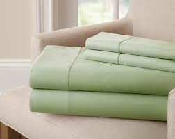 PC Diana Lin 100% coton Drap de lit Ensemble – 400 fils Satin tissé – Naturel, doux, 35 cm de profondeur de linge de lit Luxueux de qualité – 4 pièces de poche (Sage solide Euro Unique Ikea)