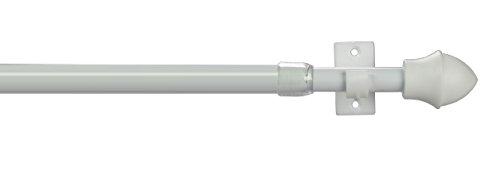 JalousieCrew Vitragestange Scheibengardinen Stange Farbe weiß - 55-225 cm ausziehbar - Scheibenstange (55-85 cm)