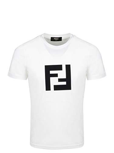 Luxury Fashion | Fendi Heren FAF532A54PF0W42 Wit Katoen T-shirts | Lente-zomer 20