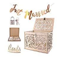 CNNIK DIY Hochzeitskartenkiste aus Holz mit Schloss und Kartenzeichen, Abnehmbar Hohl Gravur Postfach, Geschenkkarten sammeln Dekoration für Hochzeitsempfang Geburtstag und Besondere Anlässe