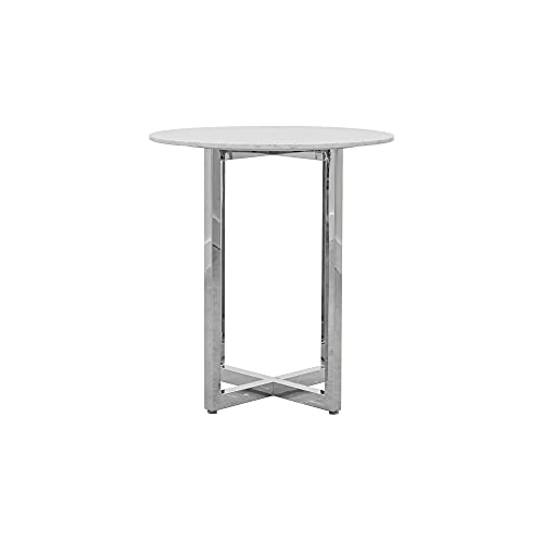 Modus Amalfi 3 PC 32' Round Bar Table w Marble top & 2 X-Base Bar Stool Set in Taupe