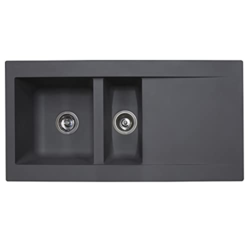 SIA DELTA15GR 1.5 Bowl Grey Composite Reversible Inset Kitchen Sink & 90mm Basket Strainer Waste Kits W1000 x D500