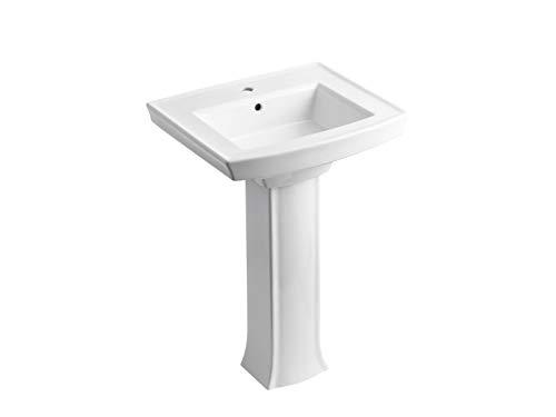 KOHLER K-2359-1-0 Archer Pedestal Bathroom Sink with Single-Hole Faucet Drilling, White
