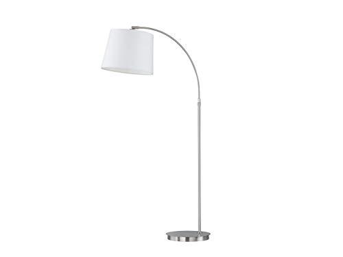 Honsell Bogenstehlampe mit LED – großer Stoffschirm Weiß/Metall Silber matt – Ausladung variabel da höhenverstellbar