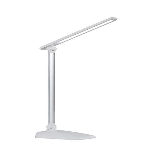 FREETT Lámpara de Mesa Estudio Salón, Luz de Lectura LED Regulable, con Control Táctil y 3 Temperatura de Color, 3000-6000K, Lámpara de Escritorio USB Portátil, 700lm, Blanco