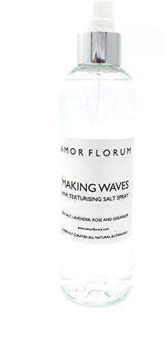AGUA FLORAL CON SAL - CON LAVANDA, GERANIO Y ROSA - para Texturisar el Cabello - 250 ml - de AMOR FLORUM - Una neblina de agua floral con aroma natural y sal para texturizar tu cabello.