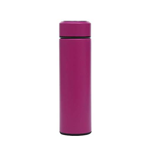 ZJP Business Intelligent Isolierkannen Auto-bewegliche Edelstahl-Anzeige Temperatur-Wasser-Flasche High-End-Werbegeschenk Cup (Color : Rose red, Size : 500ML)