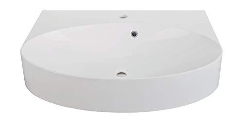 Calmwaters® Ovales Waschbecken aus Mineralguss zum Hängen oder Aufsetzen mit Überlauf, 60 cm breit - 05BC2353