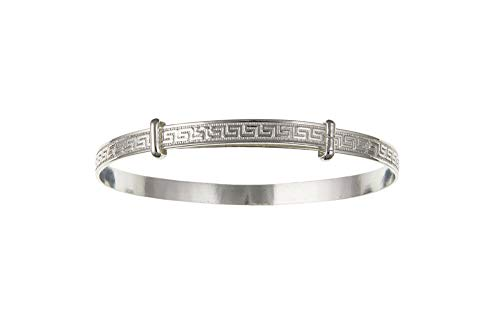 Solid Silver Childs Bangle 3 to 7 Years Greek Key Design Expandable 925 Hallmark