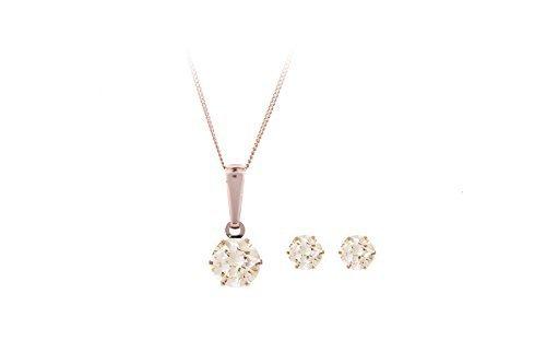 9ct de oro rosa y cristales 4 mm con circonitas Juego de pendientes de tuerca y 5 mm con circonitas de champán lámpara de techo colgante con 40,64 cm cadena. Una caja de regalo