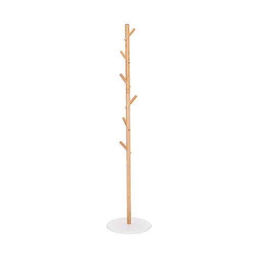 Porte-manteau en bois massif Salon porche porte-vêtements chambre simple suspension d'arbre combinaison de stockage multifonctionnel Casiers ( Color : Beige , Size : 36*36*153cm )