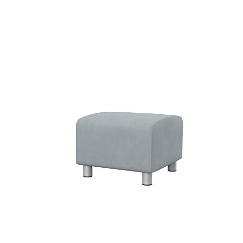 Soferia Bezug fur IKEA KLIPPAN Hocker, Stoff Majestic Velvet Silver