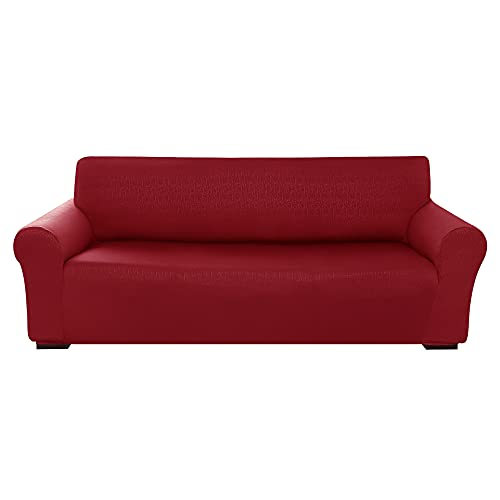 Amazon Brand - Umi Fundas para Sofa 3 Piezas Funda Sofa contra Manchas Protectora Moderna Elasticas Ajustable Suave Rojo Oscuro