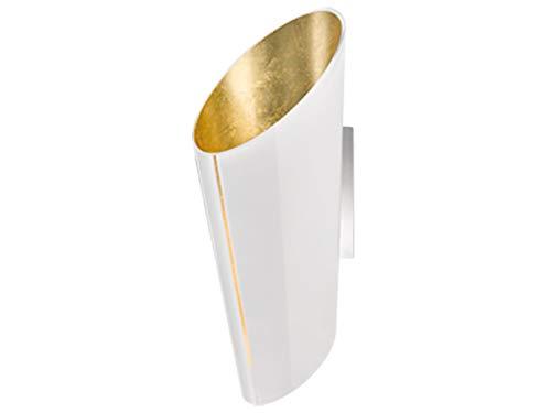Exclusieve LED wandlamp, chroom met conische glazen lampenkap H48 cm buiten wit, binnenkant goud folie, zeer edel!