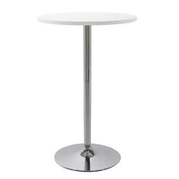 Nimara Mesa alta redonda con un tablero blanco o negro | Mesa redonda que se adapta perfectamente a dos taburetes de bar | Mesa de bar redonda para una barra de casa | Diseño elegante (blanco)