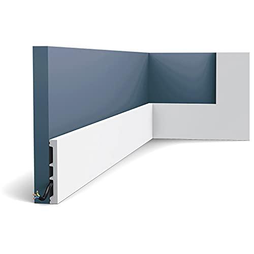 Battiscopa Orac Decor SX163 AXXENT SQUARE zoccolino cornice parete profilo multifunzione design classico senza tempo bianco 2 m