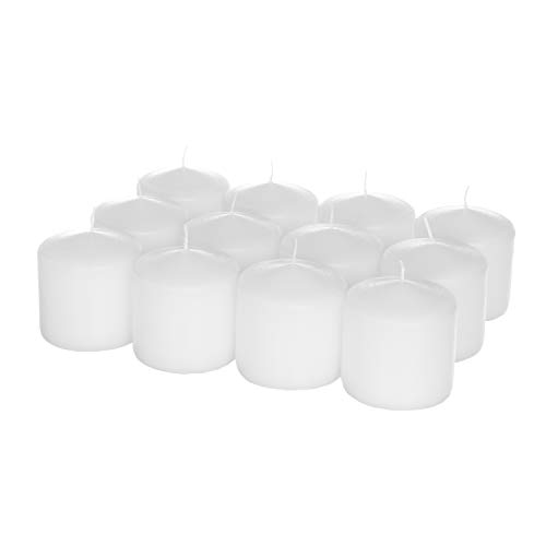 Royal Imports Pillar Candles White Unscented Premium Wax, 30 Hours Burning for Wedding, Spa, Party, Birthday, Holiday, Bath, Home Decor - 3'x3' Inch - Set of 12