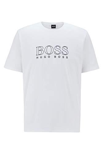 BOSS Herren Cosy T-Shirt Pyjama-T-Shirt aus Stretch-Baumwolle mit Logo-Umriss