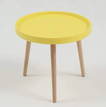 WV LeisureMaster Tavolini da caffè in Legno con Incastonatura Tavolino Rotondo Moderno Tavolino da Salotto con Tavolo da Snack Tavolo da Pranzo per Casa e Ufficio (Giallo)