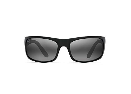 Maui Jim Peahi w/ Patented PolarizedPlus2 Lenses Polarized Lifestyle Sunglasses, Black Matte W/Black Rubber Utd/Neutral Grey Polarized, Large