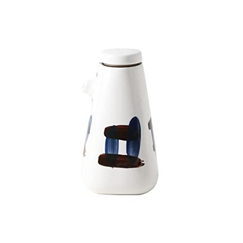 wantanshopping 10.1 Oz Aceite de cerámica Simple y vinagre Dispensador de vinagre Frasco de Aceite de condimento Creativo con caño y Tapa. (Color : B)