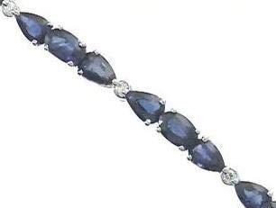 Gin & Grace Oro blanco 18k genuino azul zafiro diamante (SI1) pulsera para la Mujer