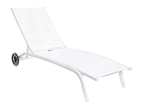 CLEO Chaise longue à roulettes Blanc