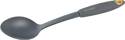 Fackelmann Servierlöffel 30 cm SOFT, Küchenhelfer mit Funktionsteil aus Kunststoff, Vorlegelöffel für beschichtete Töpfe und Pfannen (Farbe: Orange/Grau), Menge: 1 Stück