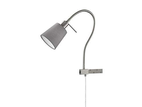 Flexible Honsel LED Leselampe / Bettleuchte zum Anschrauben, Möbelleuchte Stoffschirm grau