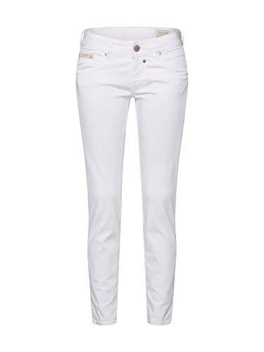 Herrlicher Damen Touch Cropped Satin Powerstretch Hose, Weiß (White 10), W(Herstellergröße: 28)