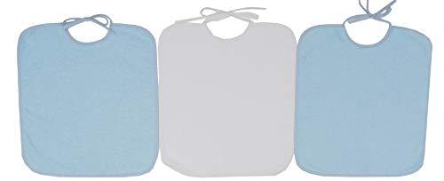 Ti TIN - Pack 3 Baberos de Rizo, Para Bebés con Más de 1 Año, Cierre con Cintas, 90% Algodón, Colores Sólidos Azul Pastel, 32x36 cm