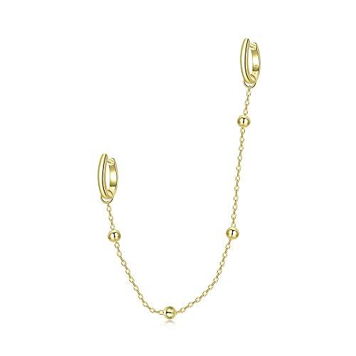 Pendientes de aro pequeños con cuentas para cartílago de plata de ley con dos agujeros, chapado en oro de 14 quilates, doble piercing para colgar, joyería para mujeres, niñas, mamá, 1 pieza