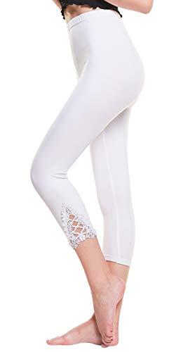 Vertvie damen 3/4 Länge Leggings mit Spitzenabschluß Hollow mit strass casual Modal Caprihose Strumphosen Stretch pants Einheitsgröße (One Size, Weiß)