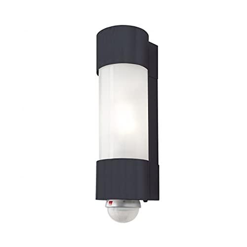 Heibi Wandleuchte mit Bewegungsmelder NEPTO Edelstahl grau/Opalglas 10x12,5x37 cm E27 Außenleuchte