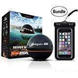 Deeper Smart Sonar PRO+ Series, 2.55', Black - GPS, Wi-Fi Connected Wireless, Castable, Portable Smart Fishfinder for iOS & Android Devices & Universal Waterproof CellPhone Case (Bundle)