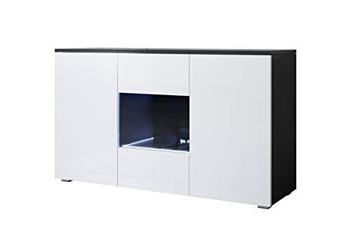 muebles bonitos Buffet modèle Luke A2 (120x72cm) Noir Blanc